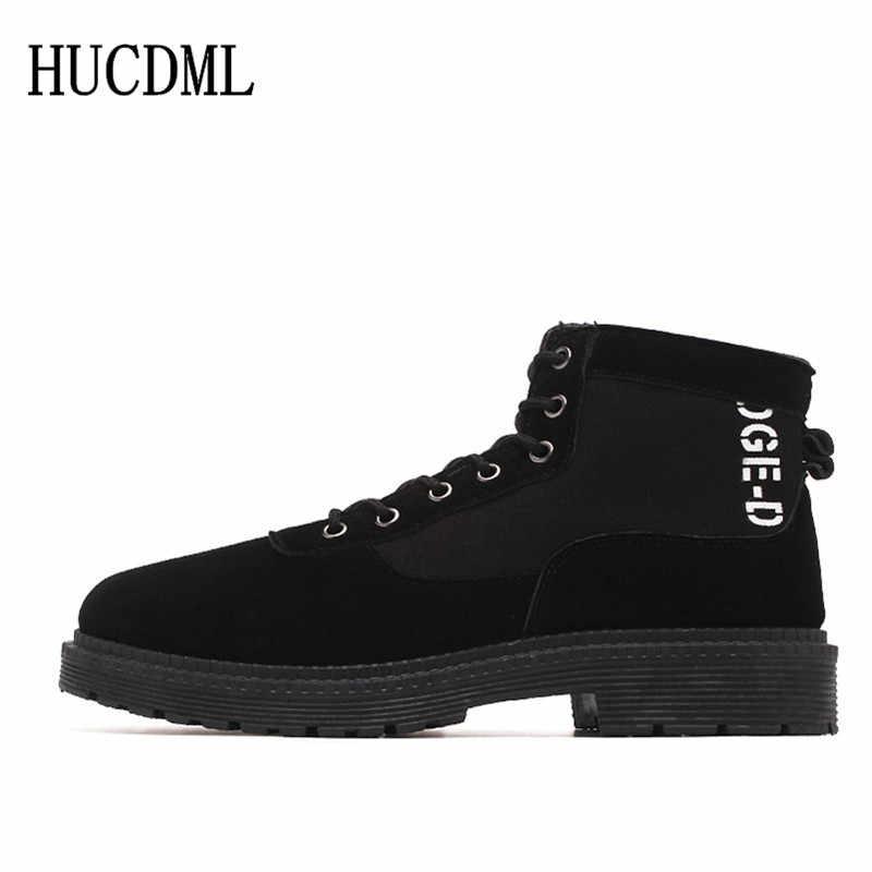 HUCDML 2019 جديد اللفاف الرجال الأحذية الرجال مريحة وتحذير في الهواء الطلق الأحذية الدانتيل متابعة الرجال حذاء رياضة غير الانزلاق الأحذية حجم 39-44