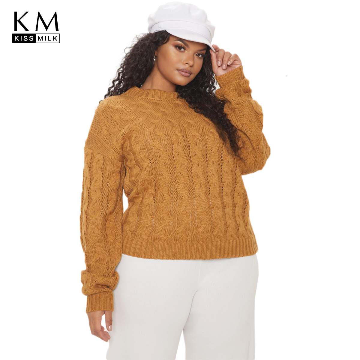 Kissmilk Plus Size Woman Clothes Vintage Wind Twisted Half-high Collar Drop Shoulder Long Sleeve Sweater