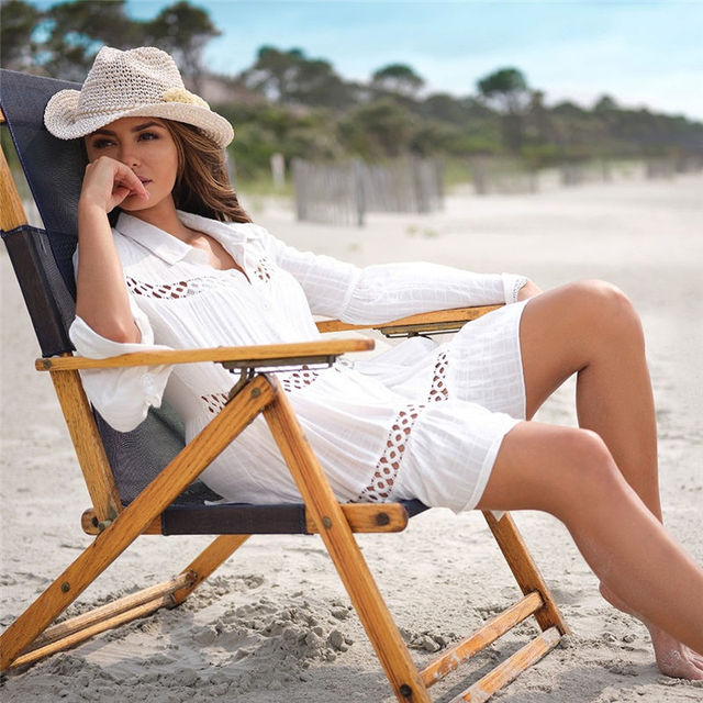 2021 Sexy White Dress Beach Tunic White Casual Simplicity Turn Down Collar Long Sleeve Hollow Out Cotton Summer Mini dress N1048 6