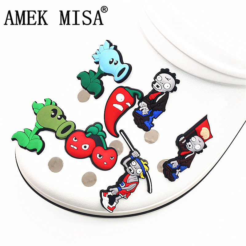 Single Sale 1pcs PVC Shoe Charms Plants Vs Zombies Garden Shoe Decoration Accessories For Croc Wristband Jibz Kids Party X-mas