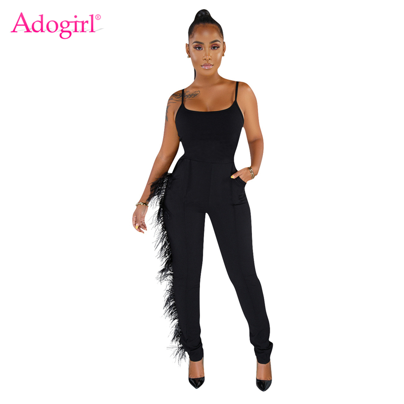 Adogirl Side Feather Spaghetti Straps Jumpsuits Women Solid Pockets Skinny Romper Casual Slim Bodysuits Female Overalls Outfits