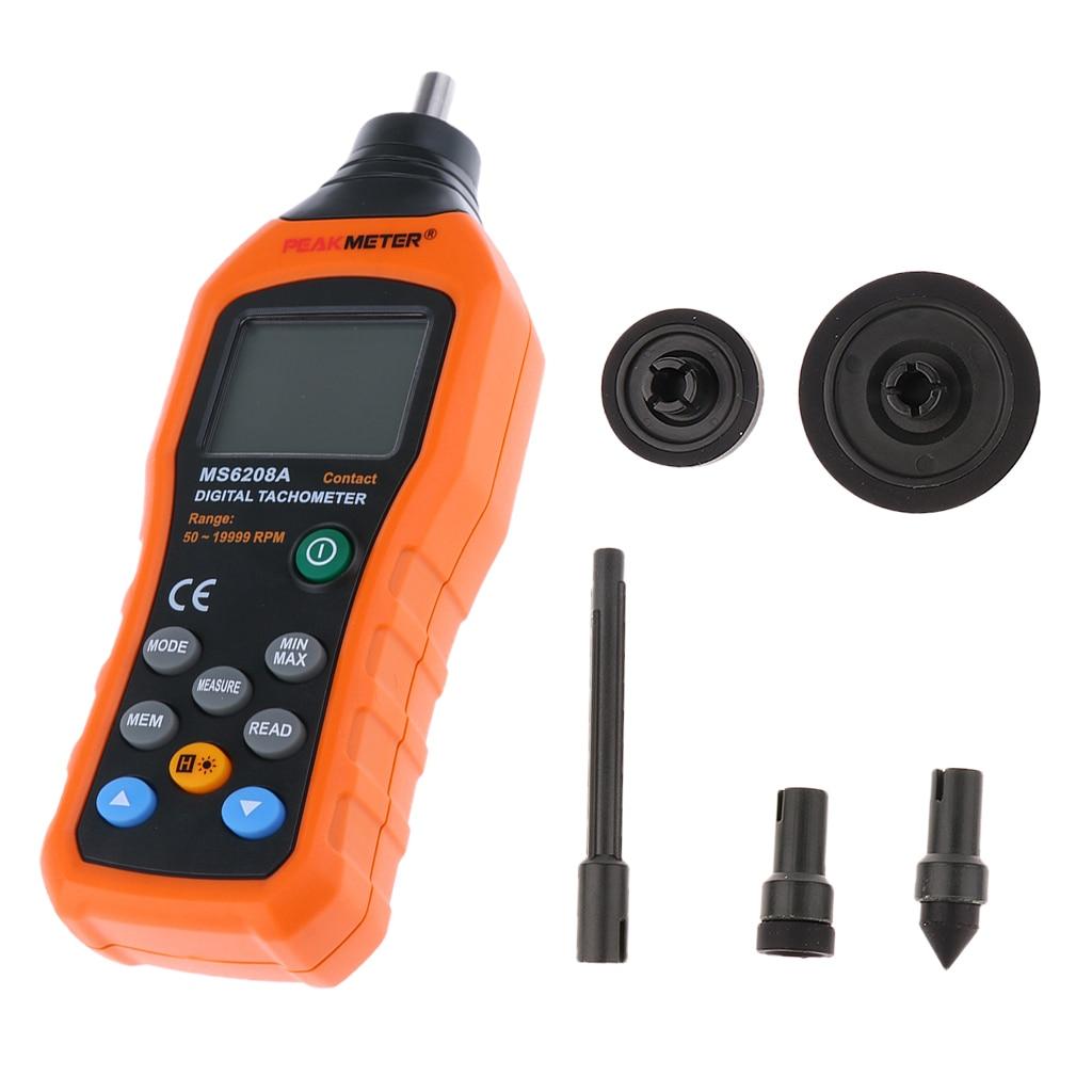 MS6208A Contact tachymètre numérique tr/min vitesse de Rotation du compteur 50-19999 tr/min