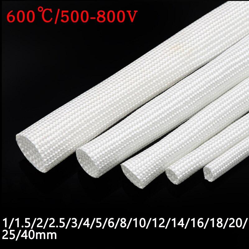 Branco/preto 600 deg. c fibra de vidro tubo 1mm 40 40mm de alta temperatura fibra de vidro química trançado protetor de tubulação de fio macio da luva