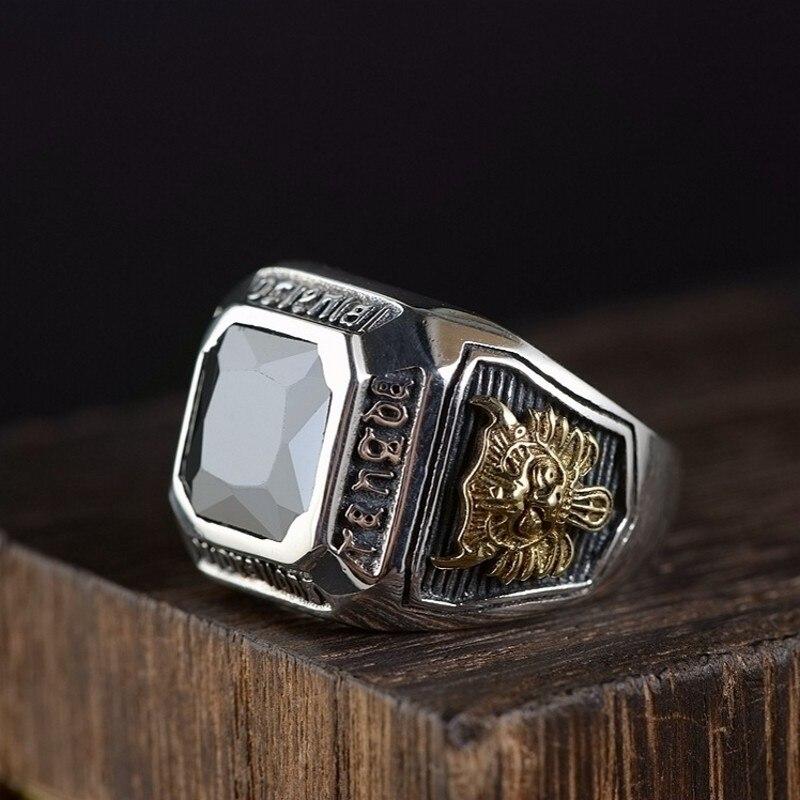 Новое мужское кольцо S925 Серебряное винтажное тайское серебряное ремесло инкрустация Цирконом регулируемое серебряное кольцо для мужчин модное мужское кольцо|Кольца|   | АлиЭкспресс