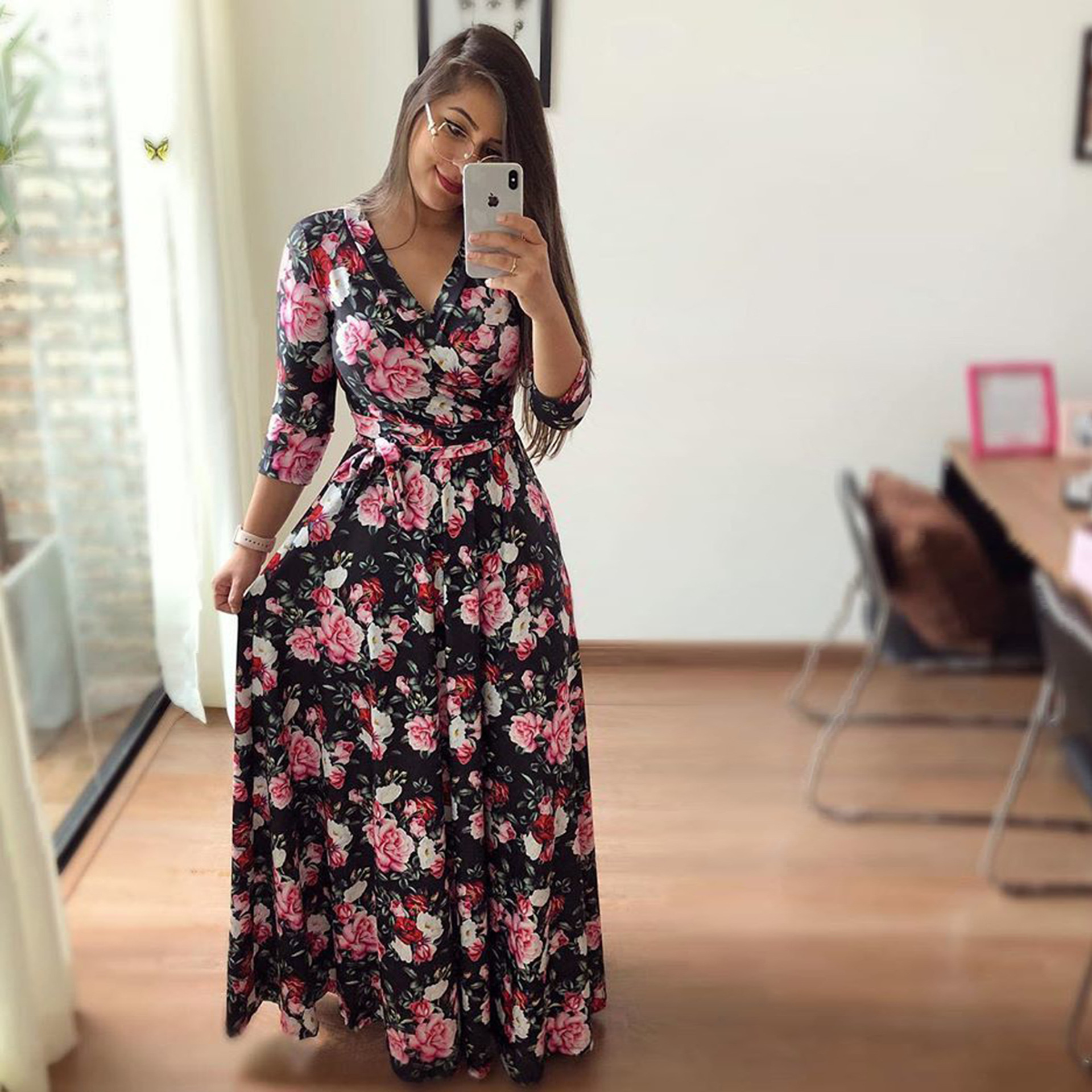 H22db19efec814bd0b0c503d62a11a09fJ - Oufisun Spring Sexy Deep V Neck Women's Dress Bohemia Tunic Maxi Dresses Elegant Vintage Flowers Print Dress Vestidos Plus Size