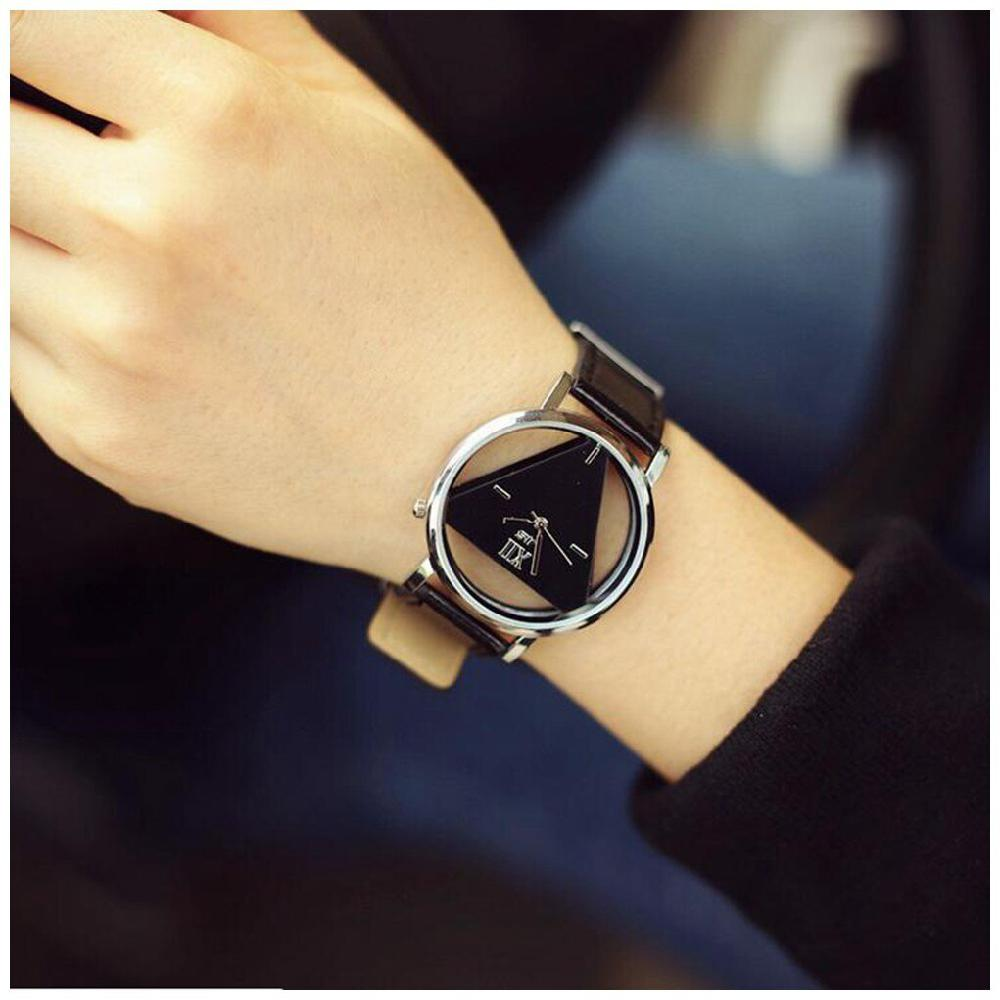 LinTimes Women Men Watches Concise Hollow Triangle Quartz Wristwatch Lovers Style Perfect Gift For Lovers