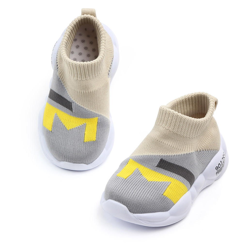 Fashion Children Shoes For Baby Girls Patchwork Anti-slip Mesh Soft Sport Shoes Sneakers Slip-on Lightweight Rubber Baby Shoes