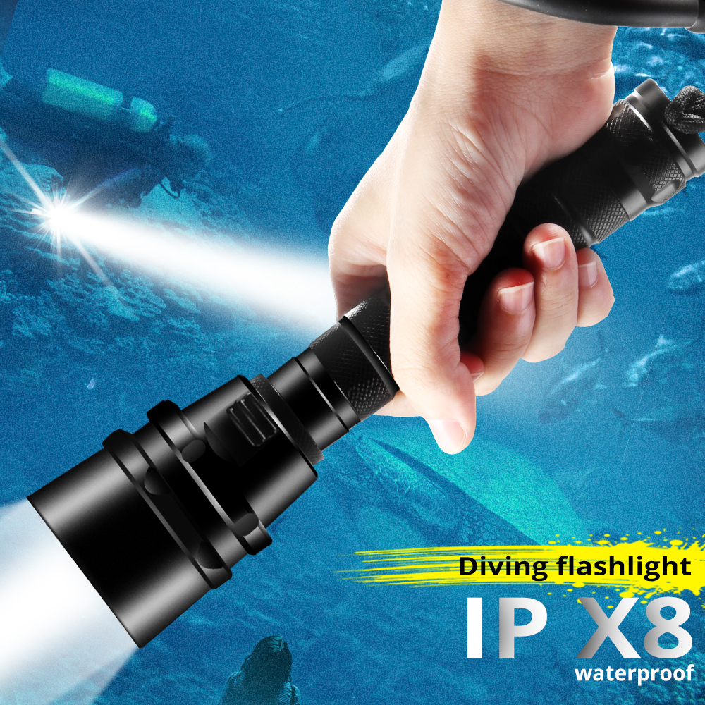 4000lm Professional Diving Light Flashlight XML-T6 L2 Scuba Dive Torch 200M Underwater IPX8 Waterproof USB Rechargerable 18650