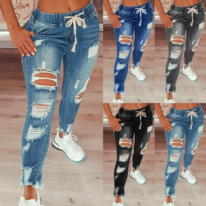 Jeans Women 2021 Drawstring High Waist Stretch Ripped Hole Jeans Fashion Denim Full Length Pencil Pants Skinny Jean Trousers|Jeans| - AliExpress