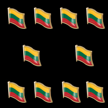 10PCS Lithuania Country Metal Flag Enamel Clothes Lapel Pin Badge Bag Jewelry