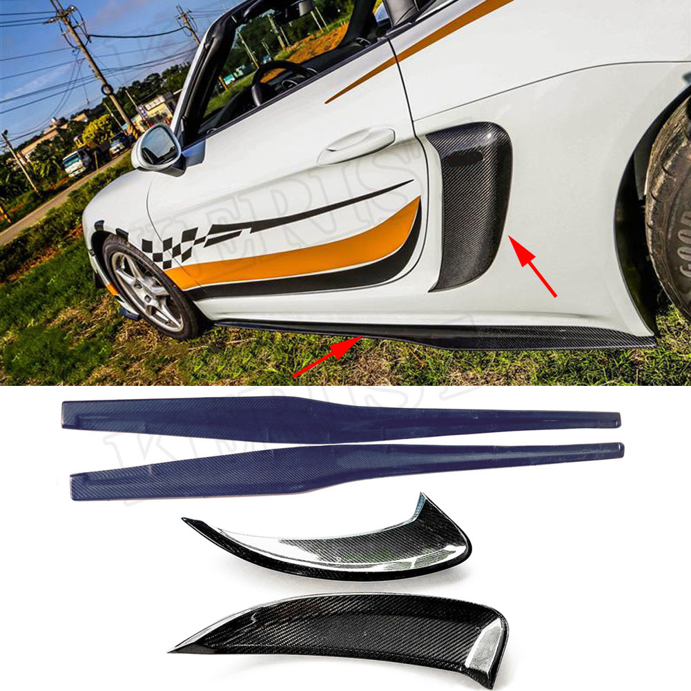 Carbon Fiber Side Air Intakes Vents & Side Skirt Fit For Porsche <font><b>718</b></font> <font><b>Boxster</b></font> Cayman 2016-2018 GT4 Style image