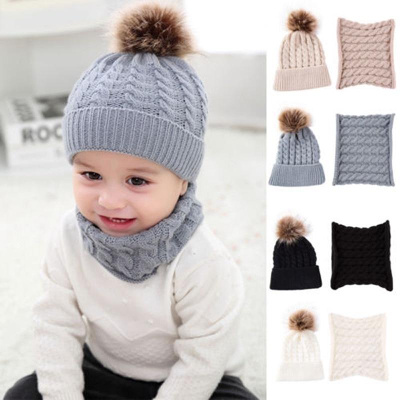 2Pcs Unisex Winter Solid Color Cute Hat Scarf Cotton Warm Pom Poms Soft Beanie