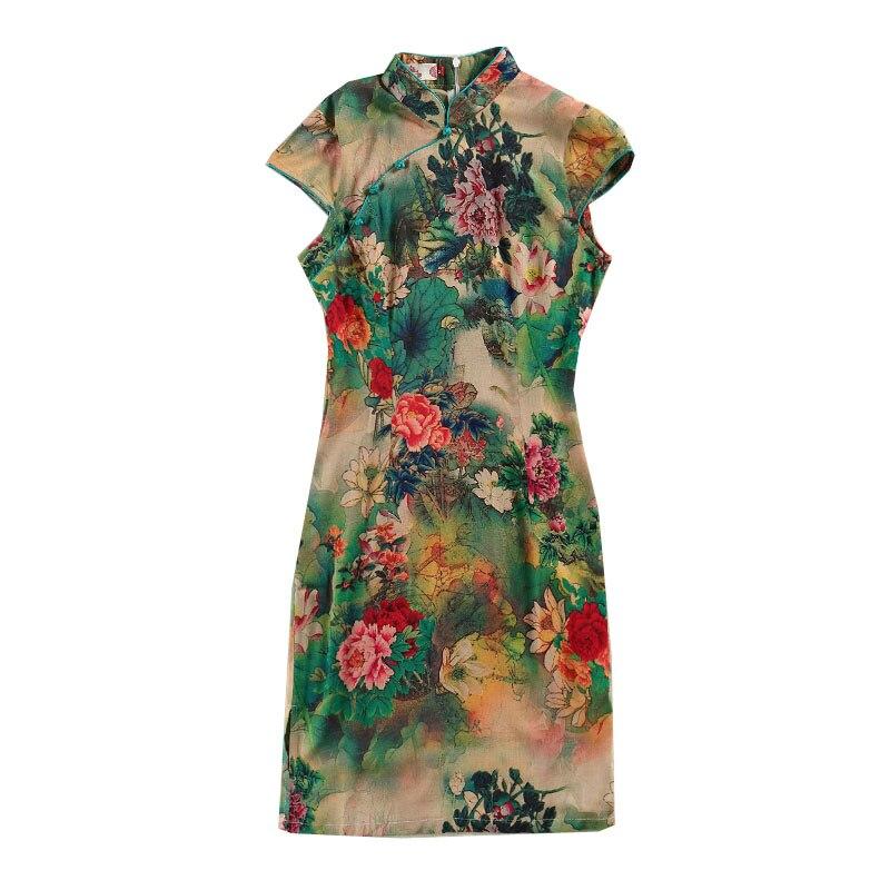 Image 2 - 5XL Womens Cotton Oriental Style Dresses Printing Elastic Qipao New Short Cheongsam Restore Ancient Traditional Chinese DressCheongsams   -