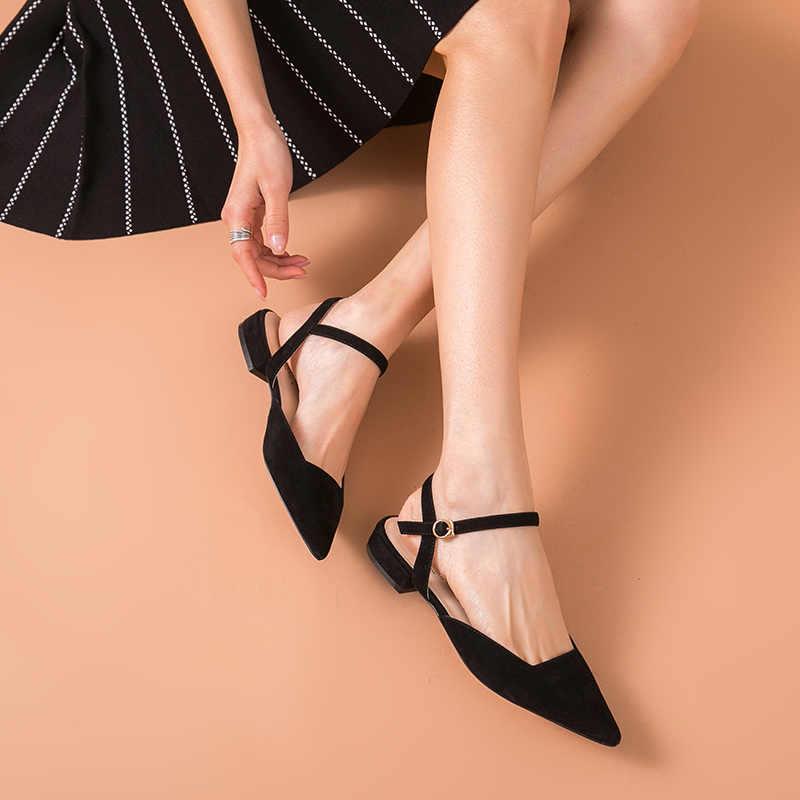 BeauToday düz sandalet kadın hakiki deri çocuk süet sivri burun toka askı bayanlar yaz ayakkabı el yapımı 32094