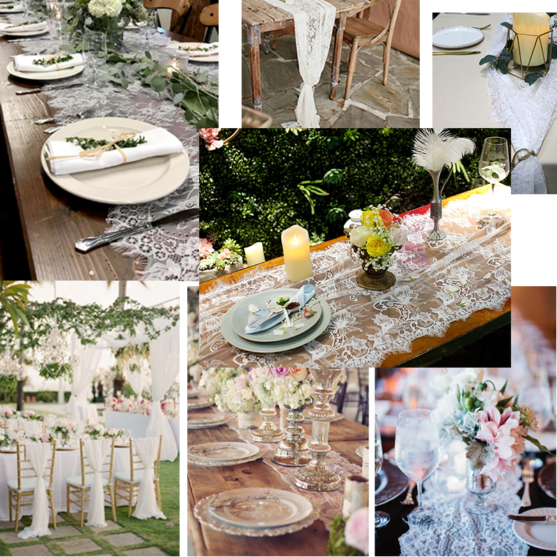 3M Boho Wedding White Floral Table Runner European Table Runner Chair Sash Modern Table Runners Farmhouse Home Hotel Decor