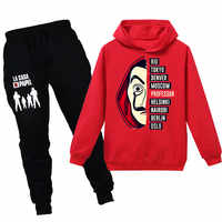 Cosplay Hoodies Sweatshirt La Casa De Papel Geld Heist Haus von Papier dali kostüm kinder Pullover/Hosen Set uniform