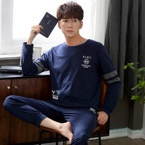 Осень-зима 2020, хлопковые Пижамные комплекты с длинным рукавом для мужчин, высококачественная одежда для сна, Мужская домашняя одежда для от...