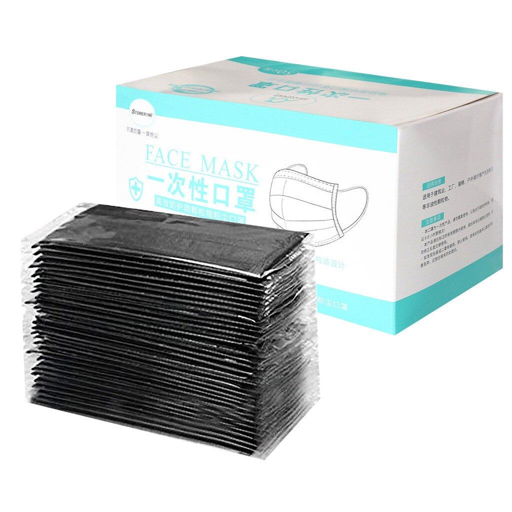 50 шт черная маска для лица Индивидуальная упаковка одноразовые пыле ветрозащитный защитный лицевой щиток на ушных петлях дышащая Pm25 рот му...