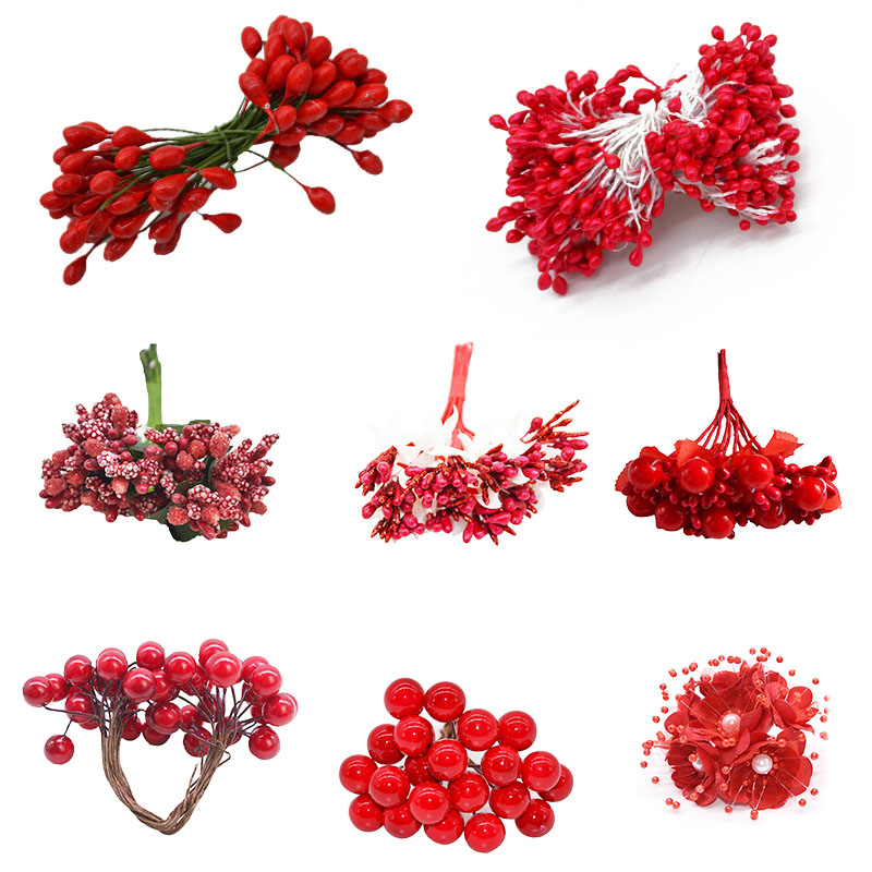 Red Bright Mix Artificial Fruit Cherry Berries Stamen 5/6/10/12/20/30/40/50/250pcs Fake Flowers For Wedding Festival   Decor