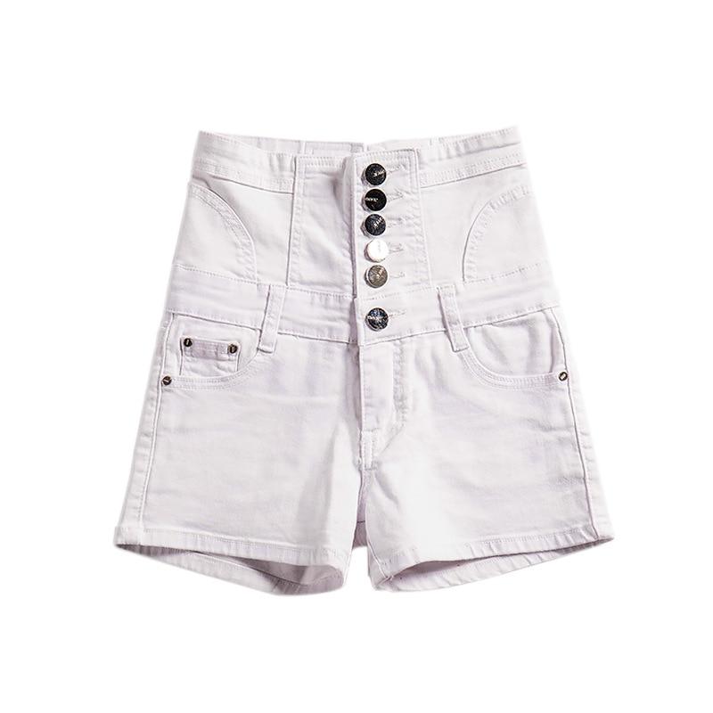 Women Single-Breasted Casual Denim Shorts Ladies Pocket High Waist Shorts Femme Beach Streetwear Fashion Shorts AA51275