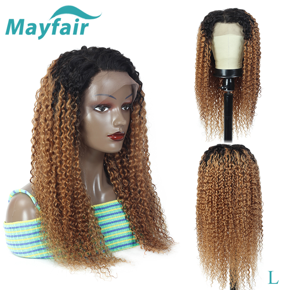 Ombre Curly Human Hair Wigs With Baby Hair Colored Human Hair Lace Wigs Brazilian Deep Curly Lace Front Human Hair Wigs