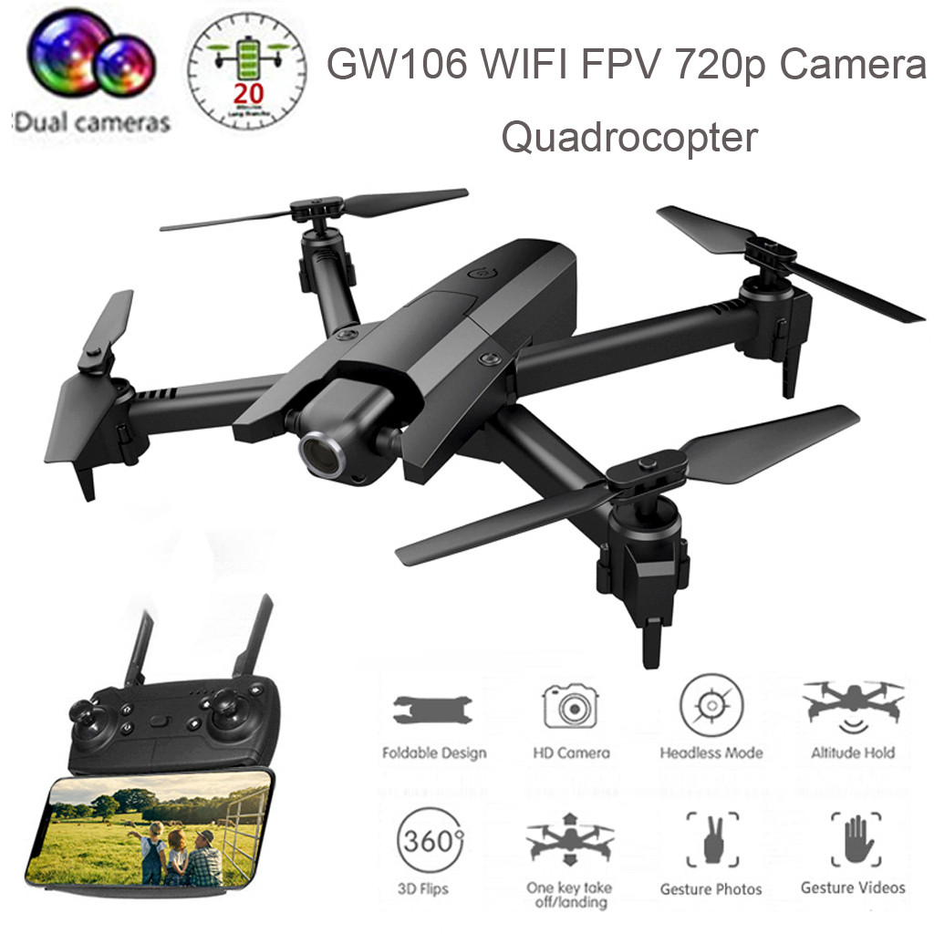 Lanbird <font><b>Mini</b></font> Rc <font><b>Drone</b></font> With Camera Gw106 Wifi <font><b>Fpv</b></font> 720p/1080p Camera Headless Foldable Quadrocopter Long Flight Time Boys Gift Wy4 image