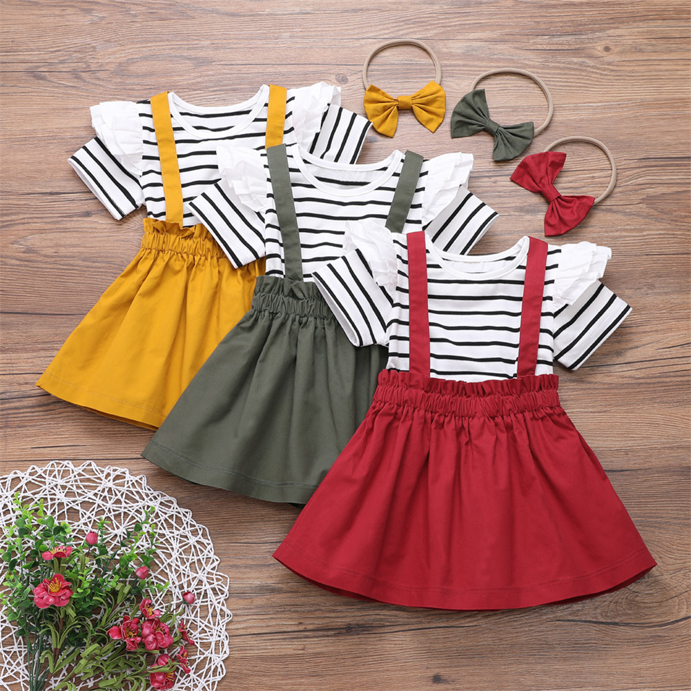 Fashion Newborn Baby Kids Girl Ruffle Tops Suspender Skirt 3PCS Outfits Clothes