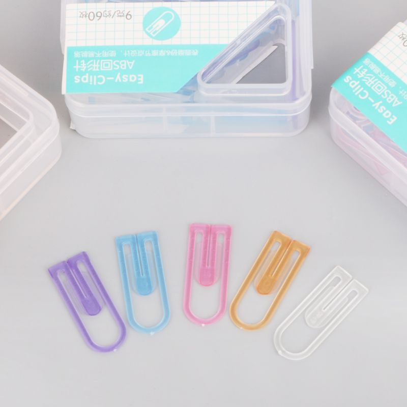 60pcs Small Mini Paperclip Kawaii Candy Color Clear Stationery Binder Clip Table Office School Supplies