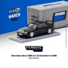 Tarmac работает 1: 64 190E 2,5-16 Evolution II 1990 черный металлик W/контейнер модель автомобиля