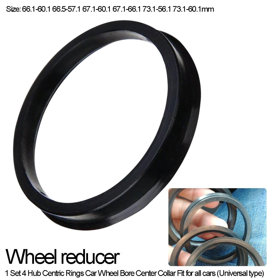 Hub Reducer Center Hole Collar Ring  Plastic 4pcs Car Wheel Bore Center Collar 66.1-60.1 66.5-57.1 67.1-60.1 67.1-66.1mm