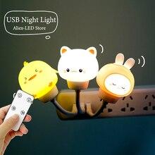 LED Cute Kids Night Light USB Decoration Night Lamp Remote Control Bear/Cat Decor Lights for Kid Bedroom Cartoon Bedside Lamp