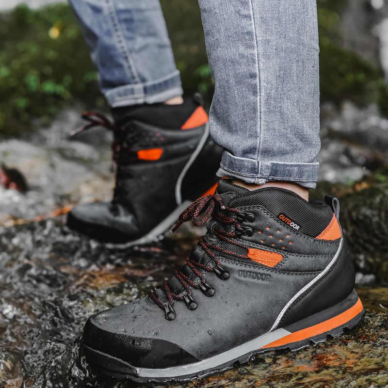 Zapatillas de Senderismo Impermeables para Hombres Zapatos de Trekking Antideslizantes para Exteriores de Calidad Transpirable Senderismo Botas de Caza