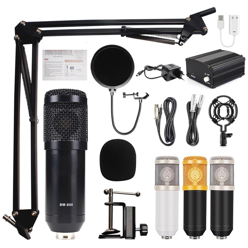 Микрофон bm 800 с фантомным питанием 48 В, микрофон для ПК, компьютера bm800, Студийный микрофон, конденсатор, профессиональный микрофон для запис...