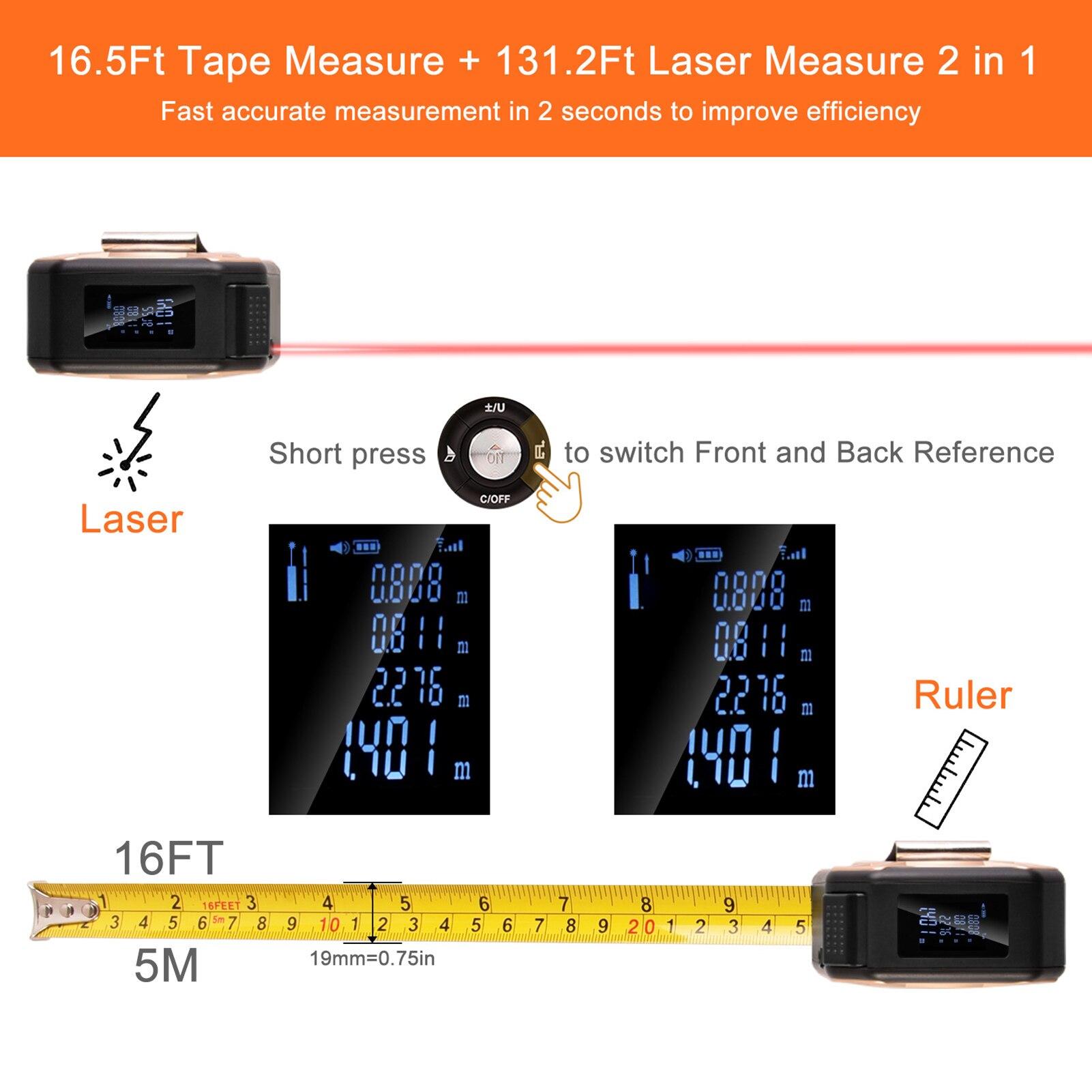2-em-1 digital laser fita de medição retrátil