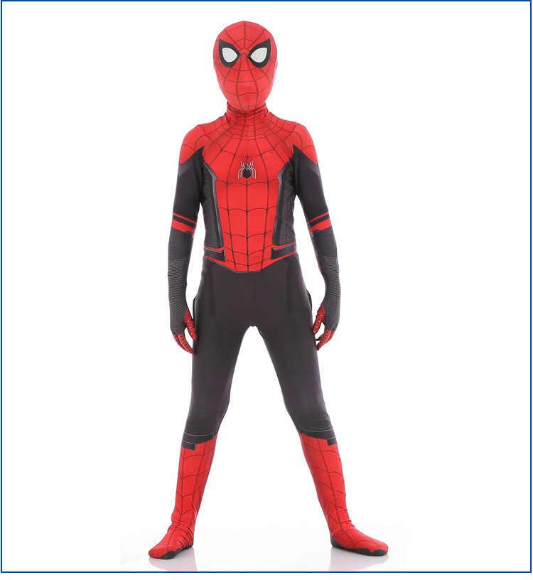 Spiderman lontano da casa costume Cosplay Zentai del Supereroe Tuta Tuta vestiti di Halloween vestiti cosplay per Uomo bambino adulto