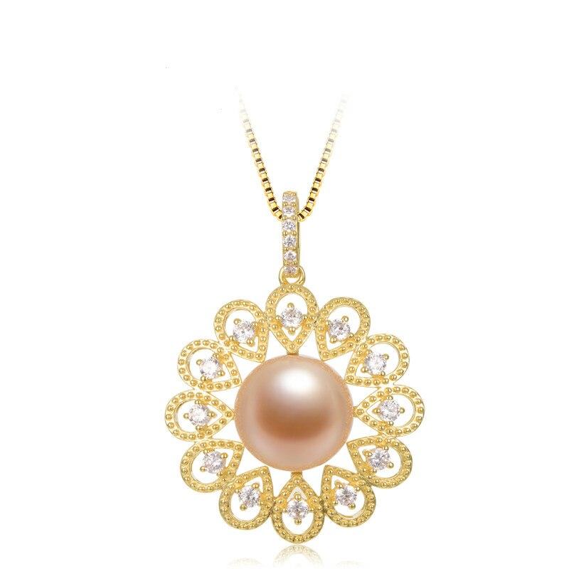 Perle d'eau douce perle pendentif 925 argent pendentif collier 13-14mm rose violet Edison perle mode bijoux pour petite amie cadeau