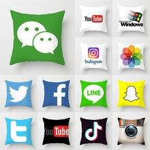 Мода из мягкого микроволокна квадратный диван кровать хлопок наволочка с принтом узор Ins Wechat логотип Современная подушка для сиденья