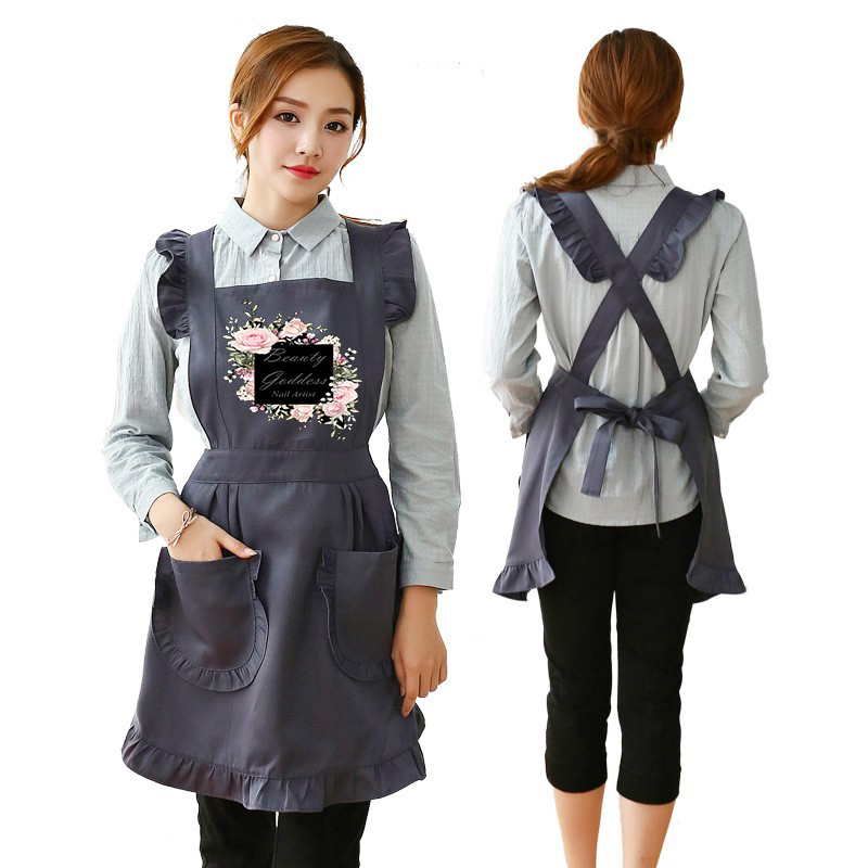 Retro Adjustable Ruffle Kitchen Aprons For Woman Cooking Cleaning Maid Costume Women's Cake Kitchen With Pockets For Custom Logo