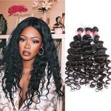"עלי מלכת שיער ברזילאי שיער טבעי גל 100% אדם רמי שיער וויבס חבילות 1/3/4Pcs טבעי צבע 10 ""  30"" תוספות שיער"