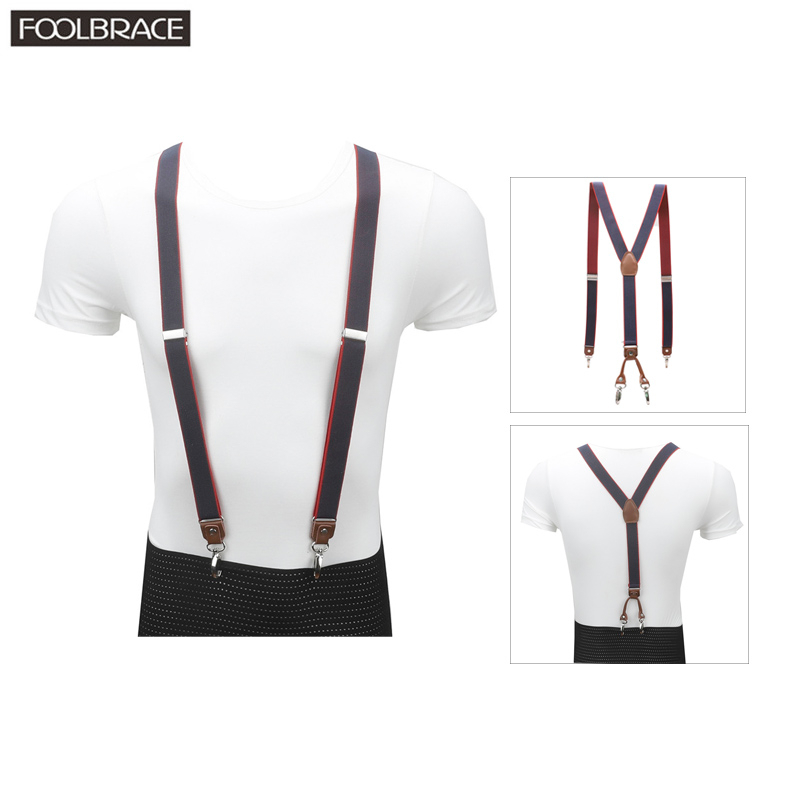 4 Hooks Buckle Brown Leather Men's Suspenders 1
