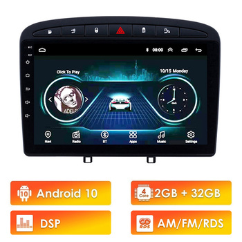 9 inch Android10 RDS DSP Car Multimedia Player for Peugeot 308 308SW 408 RCZ 2010-2016 stereo GPS navigation Support BT WIFI FM image