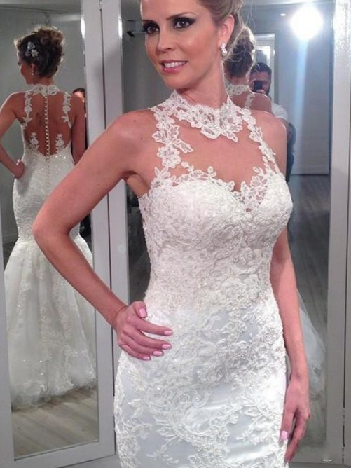 Halter Neck Mermaid Wedding Dress Floor Length High Quality Lace Appliques Long Bride Dress Vestido De Noiva 2019