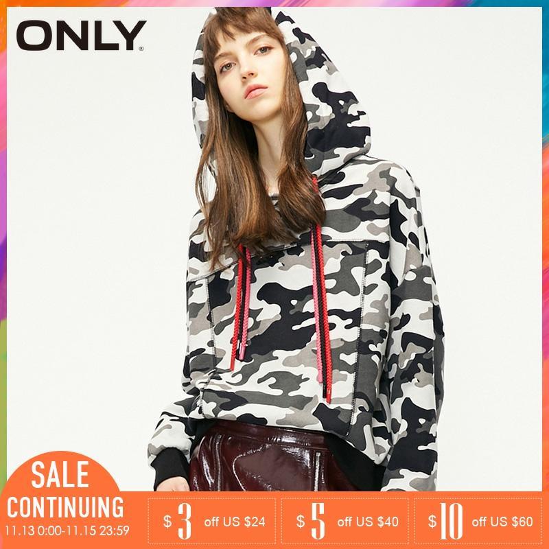ONLY Winter Colored Drawstring Back Print Hoodies Sweatshirt   11919S501