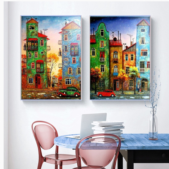 HUACAN Scenic Diamond Painting Cross Stitch Children s Room Decor DIY Cartoon House Diamond Embroidery Patterns