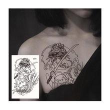 Tatuagem temporária à prova dwaterproof água floresta dragão tatuagens adesivo para maquiagem arte do corpo tatuagem preto sexy grande crânio flor tatto