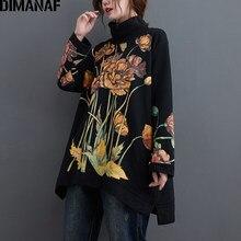 DIMANAF artı boyutu kadın Hoodies tişörtü kazak kadın bluzları çiçek baskı balıkçı yaka sonbahar kış pamuk kalın gevşek giyim
