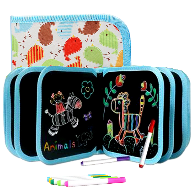Magic Water Drawing Book Painting Blackboard Cartoon Painting Toys With Water Chalk Reusable Cloth Drawing Board For Kids Gifts