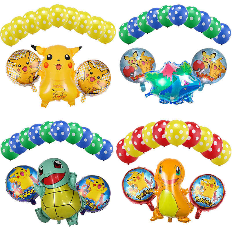 13 Buah Kartun Pokemon Pikachu Jenny Turtle Foil Balon Ulang Tahun Baby Shower Pesta Dekorasi Balon LaTeX Boy Girl Mainan Anak