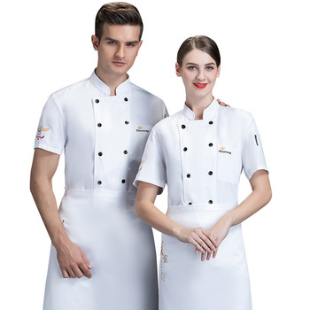 hotel chef uniform female summer short-sleeved hotpot restaurant fast food white baking master chef's kitchen equipment 5
