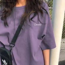 Frauen Kurzarm T-shirts Lose Beiläufige Brief Stickerei Oansatz Koreanischen Stil Mode Alle-spiel Student Streetwear Ulzzang Chic